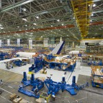 Boeing 787 Dreamliner aircraft factory production line