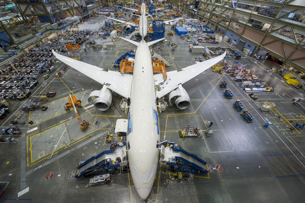 Boeing 787 Dreamliner production line at Everett Factory