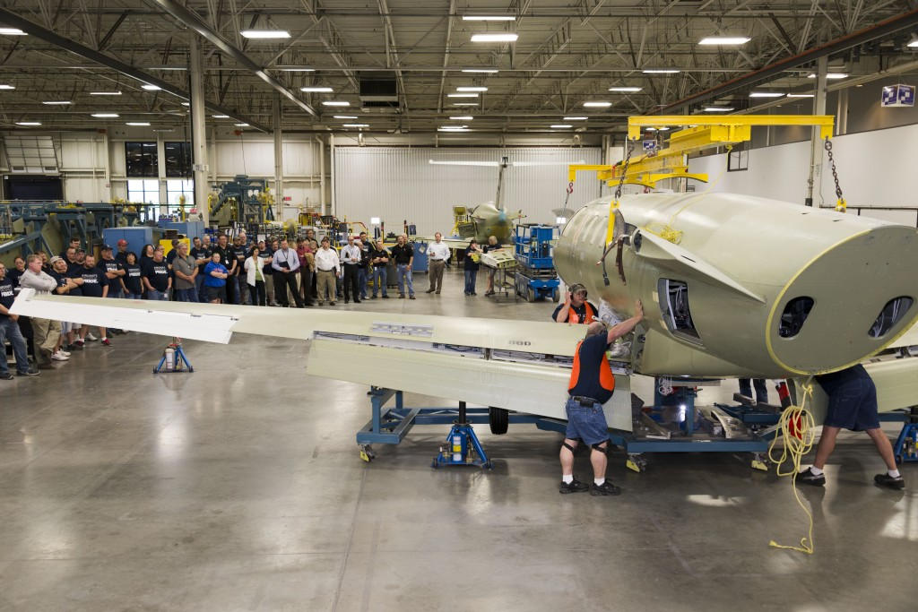 Citation M2 Business Jet Wing And Fuselage Mating