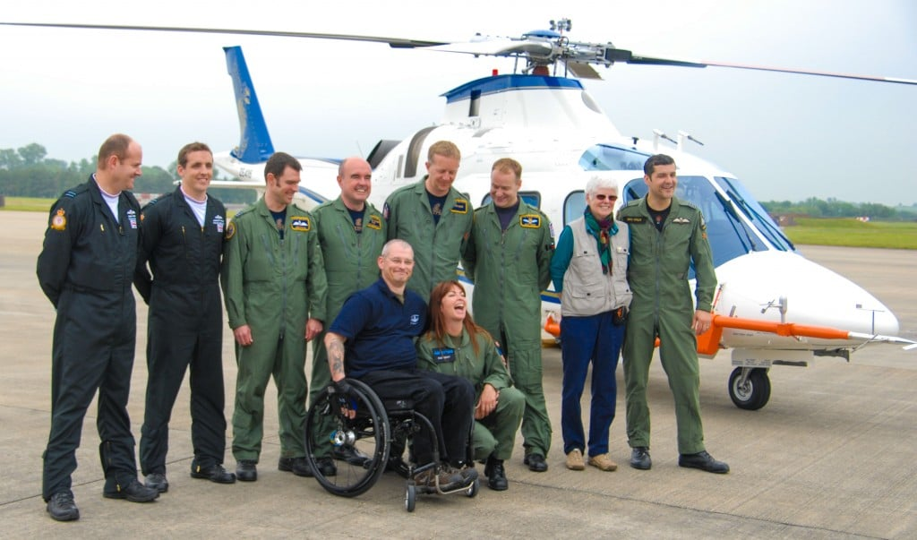 FSDP pilot Sean Allerton with Suzy Perry and the RAF pilots and test pilots