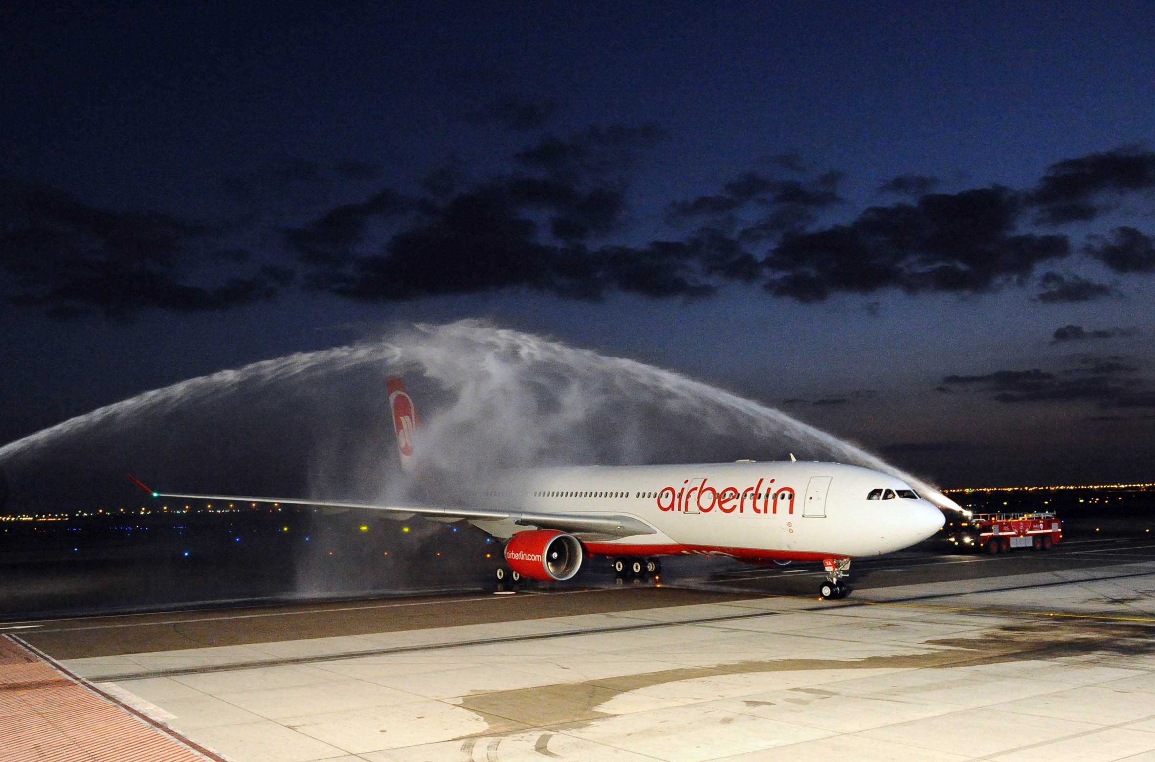 First Airberlin Flight With Airbus A330 Arrives From