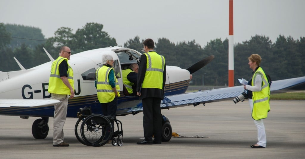 First to arrive at the RIAT launch was FSDP pilot Sean Allerton in a PA-28