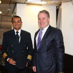 James Hogan and Etihad Airways crew arrive on Shanghai inaugural flight