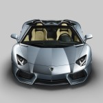 The front view of the new Lamborghini Aventador LP700-4 Roadster