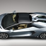 The new Lamborghini Aventador LP700-4 Roadster with the two roof panels fiited
