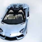 The Lamborghini Aventador LP700-4 Roadster from above with the roof panels removed