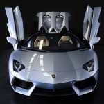 The new Lamborghini Aventador LP700-4 Roadster with engine cover and doors open