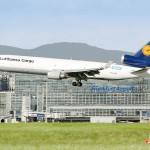 Lufthansa Cargo Freighter MD-11F aircraft takes off from Frankfurt Airport