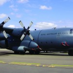 Repainted RAAF C130H Hercules aircraft