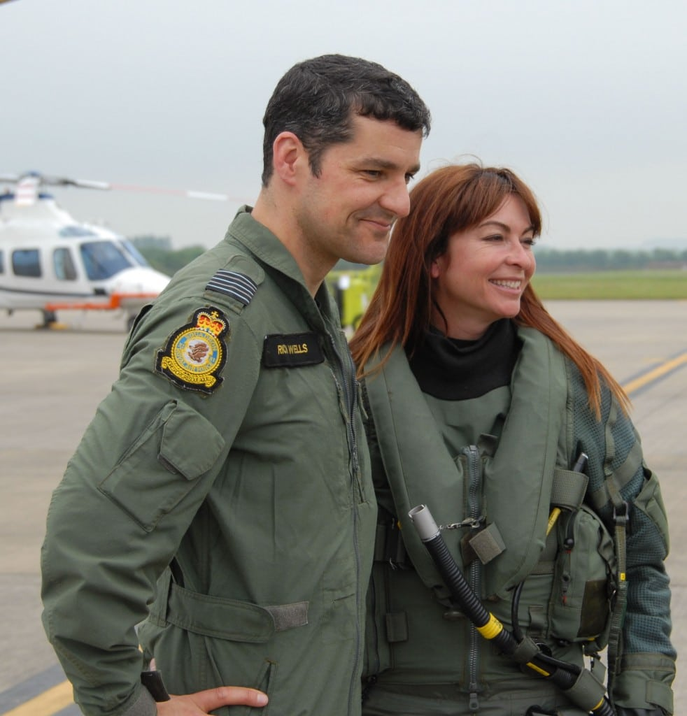 Suzi Perry and RAF Typhoon pilot Wing Commander Richard Wells