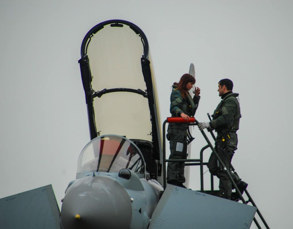 Suzi Perry and Wing Commander Richard Wells climb down from the Typhoon jet