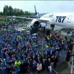 The 787 with a few of the people involved as Boeing celebrate handover with ANA