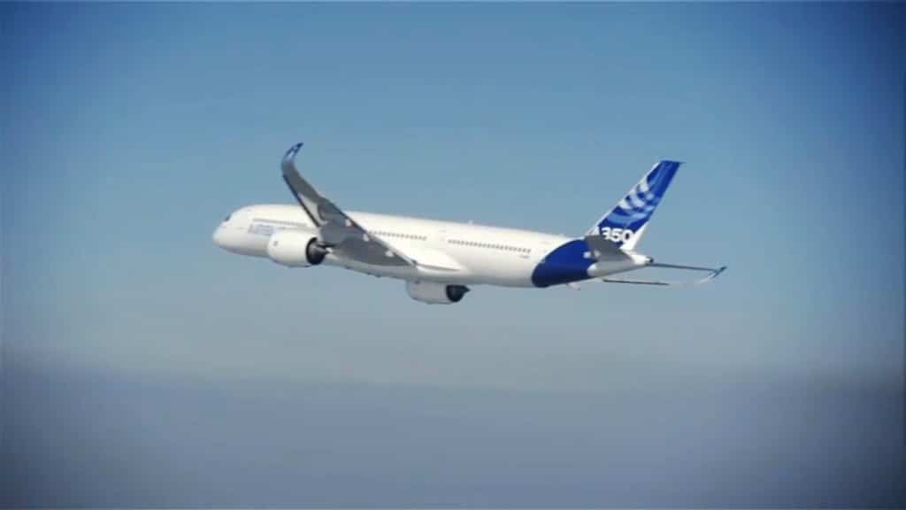 The A350 900 continues the test flight after the landing gear is raised
