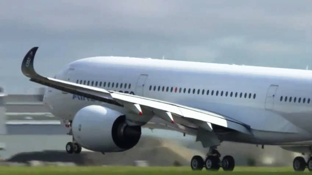 The A350 XWB nose wheel leaves the runway