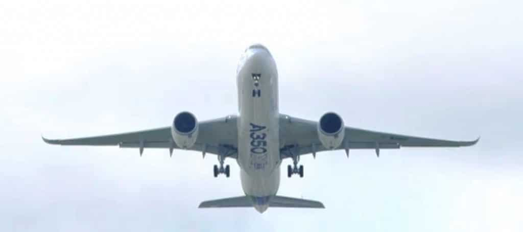 The A350 climbs from the runway