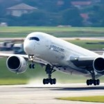 The A350 leaves the tarmac for the first time