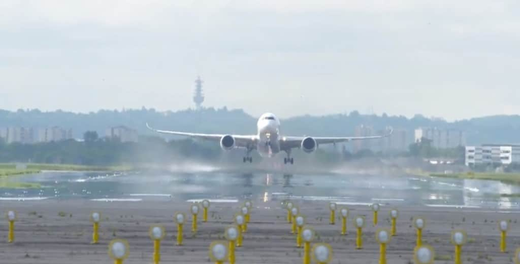 The A350 takes off