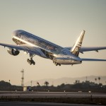 The Air New Zealand Hobbit Boeing 777 takes off at LAX for London