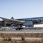The Air New Zealand Hobbit Boeing 777 touches down at LAX airport