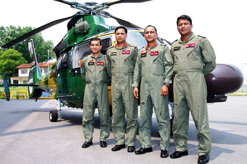 The Bangladesh Army Pilots who will fly the new Eurocopter AS365 N3 Dauphin helicopters