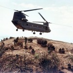 US Army CH47A Chinook flying in Vietnam