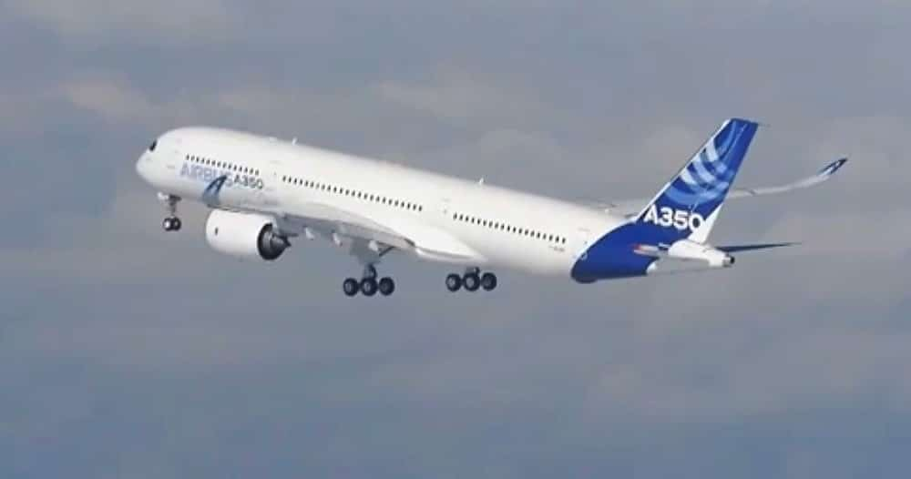Various climbs, speeds and turns are checked on teh A350 before the landing gear is raised