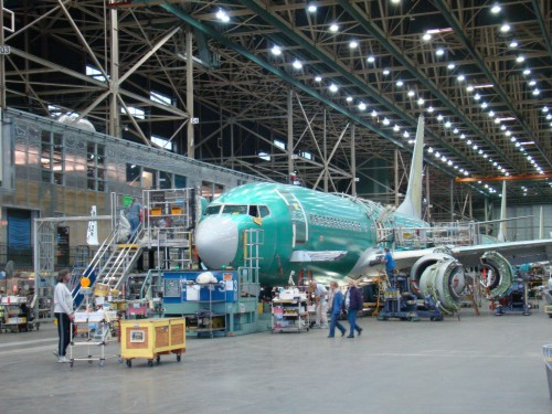 A Boeing 737-800 in production