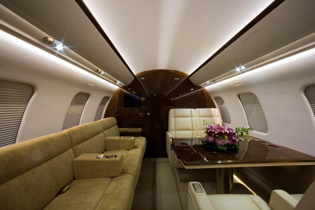 The cabin layout in Qatar Executive business jet cabin
