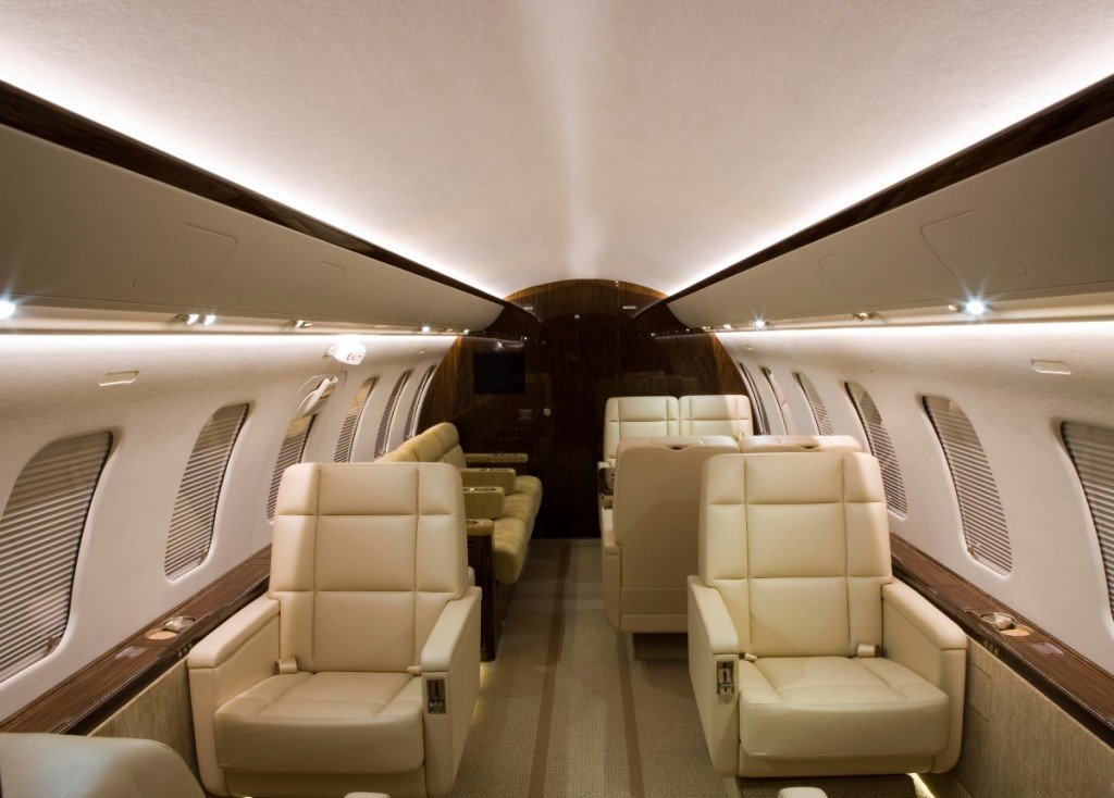 A Qatar Executive Bombardier business jet cabin